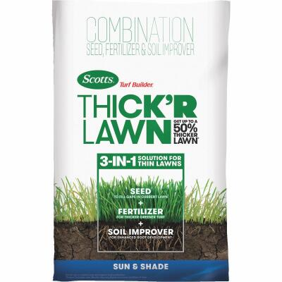 Scotts Turf Builder ThickR Lawn 40 Lb. 4000 Sq. Ft. Coverage Combination Sun & Shade Grass Seed, Fertilizer, & Soil Improver